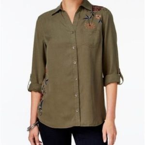 Style & Co Floral Embroidered Utility Button Down